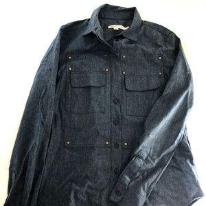 See by Chloe Vergin Wool Navy Button Down shirt